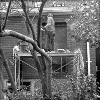Masons working at job site in Toronto.