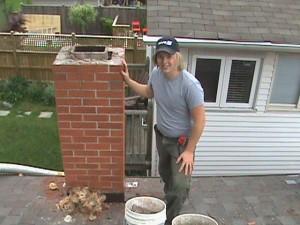 Clint Turnbull repairing chimney in Toronto.