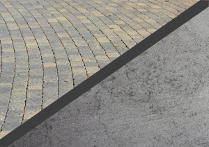 concrete floor and stone pavers